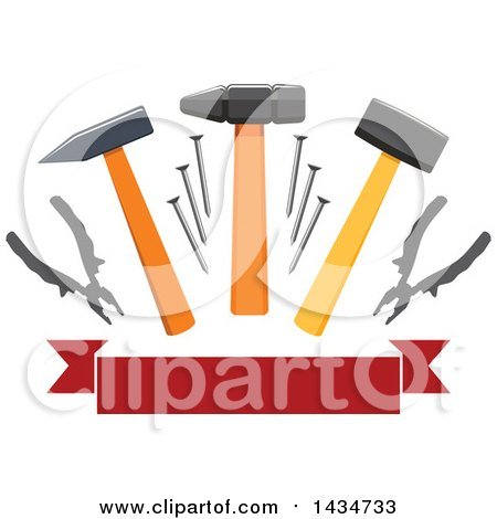 Clipart of a Blank Banner with Hammers, Mallets, Nails, and Pliers - Royalty Free Vector Illustration by Vector Tradition SM