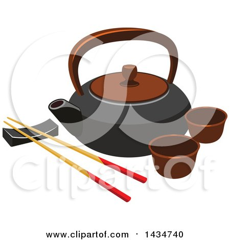 Clipart of a Japanese Tea Set and Chopsticks on a Rest - Royalty Free Vector Illustration by Vector Tradition SM