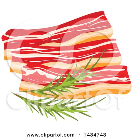 Clipart of a Chunk of Bacon Slices with Rosemary Sprigs - Royalty Free Vector Illustration by Vector Tradition SM