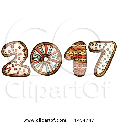 Clipart of a Sketched New Year 2017 Made of Gingerbread Cookies - Royalty Free Vector Illustration by Vector Tradition SM