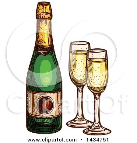 Clipart of a Sketched Bottle of Champagne and Glasses - Royalty Free Vector Illustration by Vector Tradition SM