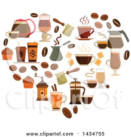 Clipart of a Heart Made of Coffee Icons - Royalty Free Vector Illustration by Vector Tradition SM