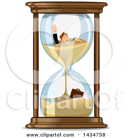 Clipart of a White Businessman Drowing in an Hourglass - Royalty Free Vector Illustration by Vector Tradition SM