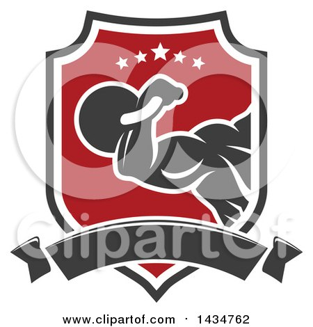 Clipart of a Strong Bodybuilder Working out with a Kettlebell in a Shield with Stars and a Banner - Royalty Free Vector Illustration by Vector Tradition SM
