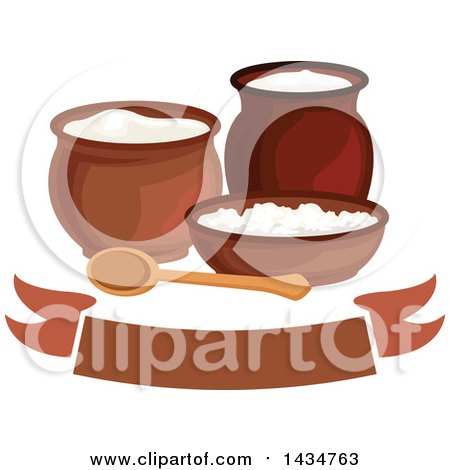 Clipart Of A Milk Pitcher Sour Cream Jar Curd And Cottage Cheese Over Banner