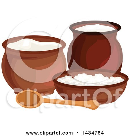 Clipart Of A Milk Pitcher Sour Cream Jar Curd And Cottage Cheese