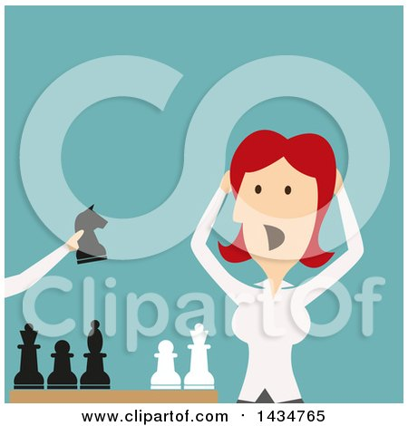 Clipart of a Flat Style Red Haired Caucasian Business Woman Losing a Game of Chess - Royalty Free Vector Illustration by Vector Tradition SM