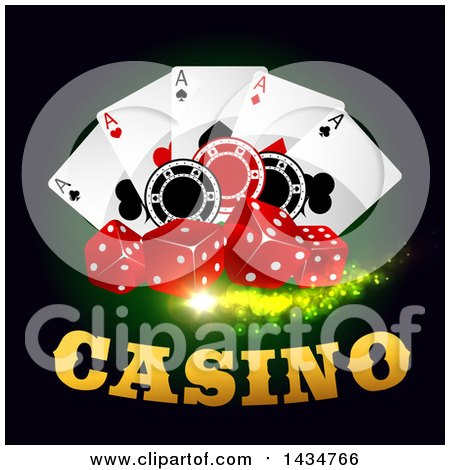 Clipart of a Casino Design with Dice, Playing Cards and Poker Chips - Royalty Free Vector Illustration by Vector Tradition SM