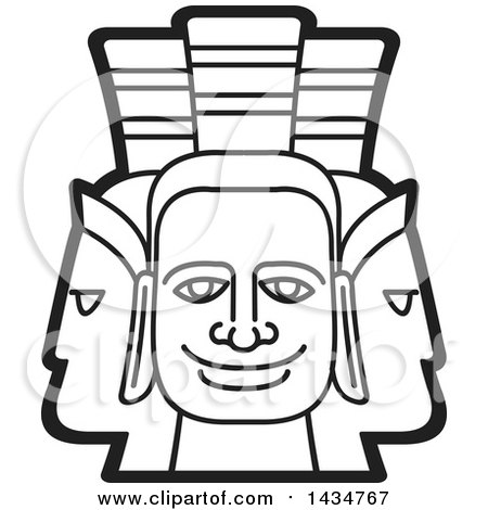 Clipart of a Black and White Three Headed Mask - Royalty Free Vector Illustration by Lal Perera