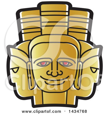 Clipart of a Golden Three Headed Mask - Royalty Free Vector Illustration by Lal Perera
