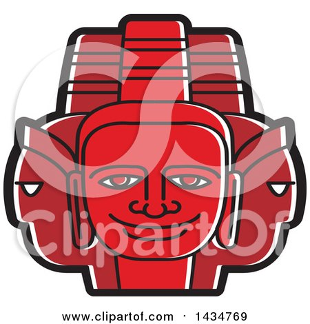 Clipart of a Red Three Headed Mask - Royalty Free Vector Illustration by Lal Perera