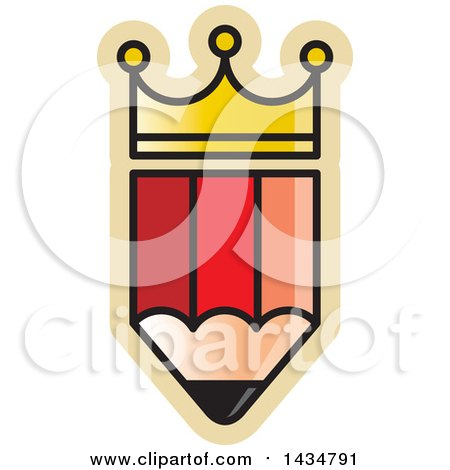 Clipart of a Crowned Pencil - Royalty Free Vector Illustration by Lal Perera