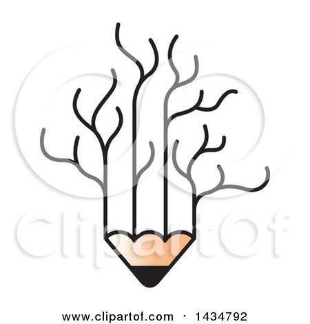 Clipart of a Pencil with Bare Tree Branches - Royalty Free Vector Illustration by Lal Perera