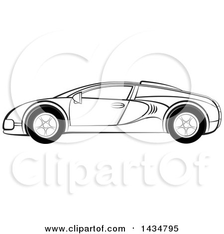 Clipart of a Black and White Sports Car - Royalty Free Vector Illustration by Lal Perera