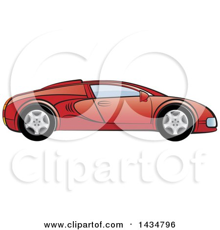 Clipart of a Red Sports Car - Royalty Free Vector Illustration by Lal Perera