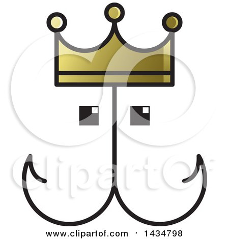 Clipart of a Fish Hook Face with a Crown - Royalty Free Vector Illustration by Lal Perera