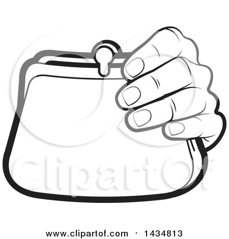 Clipart Of A Black And White Lineart Hand Holding A Coin Purse