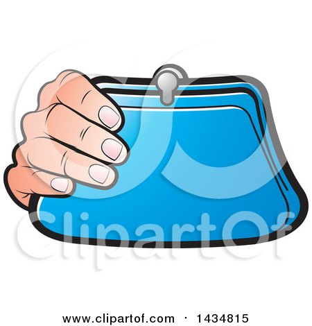 Clipart of a Hand Holding a Blue Coin Purse - Royalty Free Vector Illustration by Lal Perera