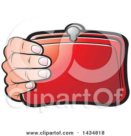 Clipart of a Hand Holding a Red Coin Purse - Royalty Free Vector Illustration by Lal Perera