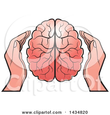 Clipart of a Human Brain with Hands - Royalty Free Vector Illustration by Lal Perera