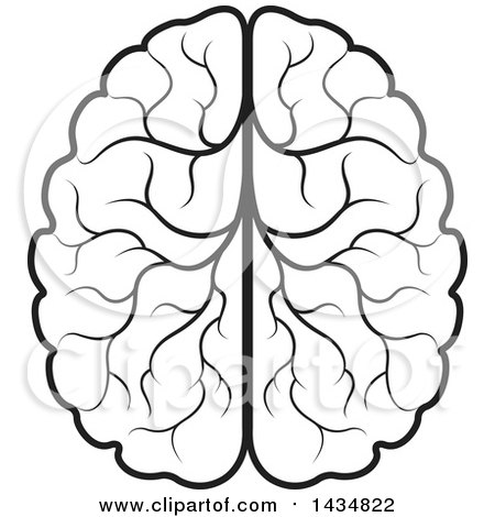 Clipart of a Black and White Lineart Human Brain - Royalty ...