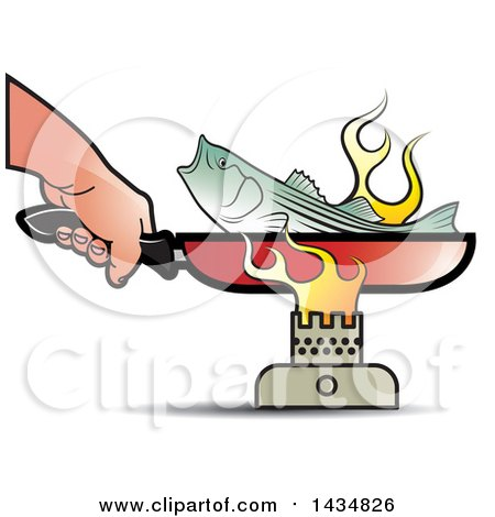 Clipart of a Hand Holding a Frying Pan Handle and Cooking a Fish over a Burner - Royalty Free Vector Illustration by Lal Perera