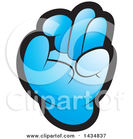 Clipart of a Blue Hand Gesturing Ok - Royalty Free Vector Illustration by Lal Perera