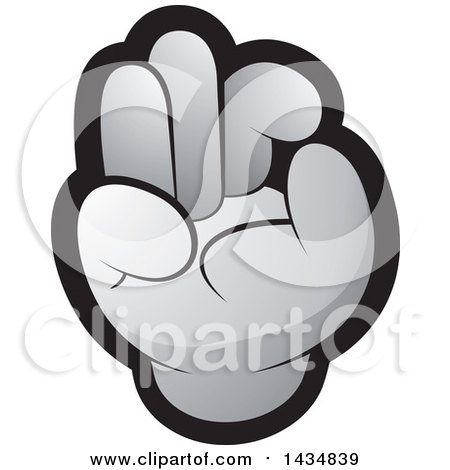 Clipart of a Gray Hand Gesturing Ok - Royalty Free Vector Illustration by Lal Perera