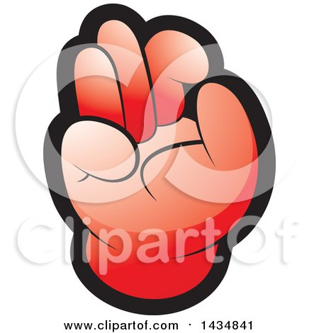Clipart of a Red Hand Gesturing Ok - Royalty Free Vector Illustration by Lal Perera
