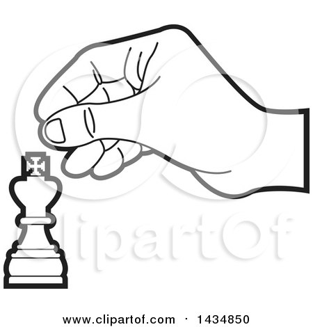 Clipart of a Black and White Hand Moving a King Chess Piece - Royalty Free Vector Illustration by Lal Perera