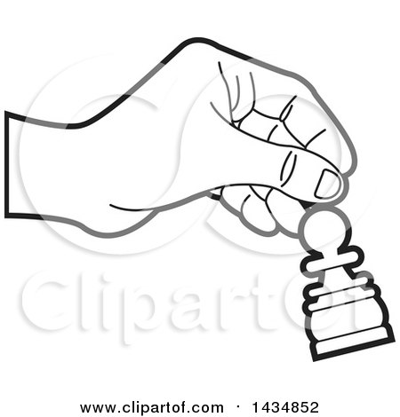 Clipart of a Black and White Hand Moving a Pawn Chess Piece - Royalty Free Vector Illustration by Lal Perera