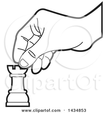 Clipart of a Black and White Hand Moving a Rook Chess Piece - Royalty Free Vector Illustration by Lal Perera
