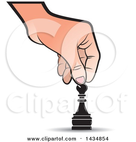 Clipart of a Hand Moving a Bishop Chess Piece - Royalty Free Vector Illustration by Lal Perera