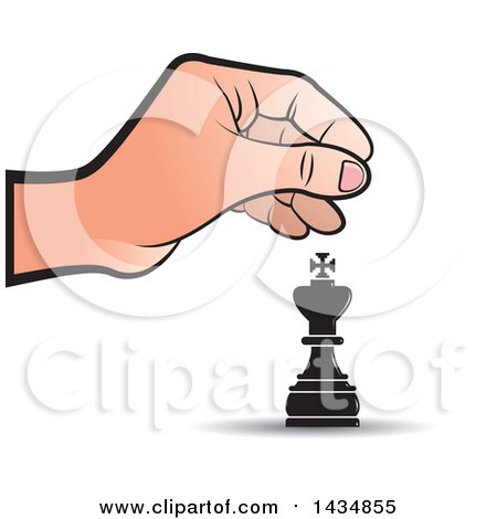 Clipart of a Hand Moving a King Chess Piece - Royalty Free Vector Illustration by Lal Perera