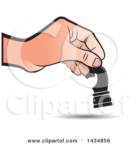 Clipart of a Hand Moving a Knight Chess Piece - Royalty Free Vector Illustration by Lal Perera