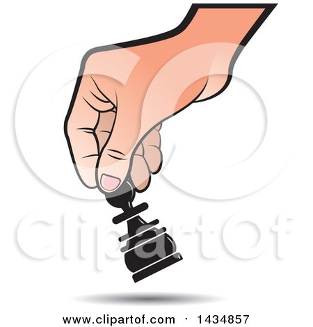 Clipart of a Hand Moving a Pawn Chess Piece - Royalty Free ...