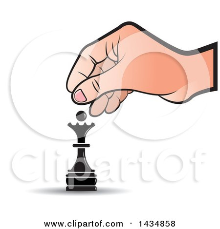 Clipart of a Hand Moving a Queen Chess Piece - Royalty Free Vector Illustration by Lal Perera