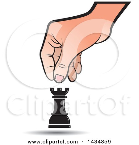 Clipart of a Hand Moving a Rook Chess Piece - Royalty Free Vector Illustration by Lal Perera