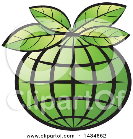 Clipart Of A Green Grid Globe With Leaves Royalty Free Vector Illustration