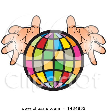 Clipart of a Colorful Grid Globe with Hands - Royalty Free Vector Illustration by Lal Perera