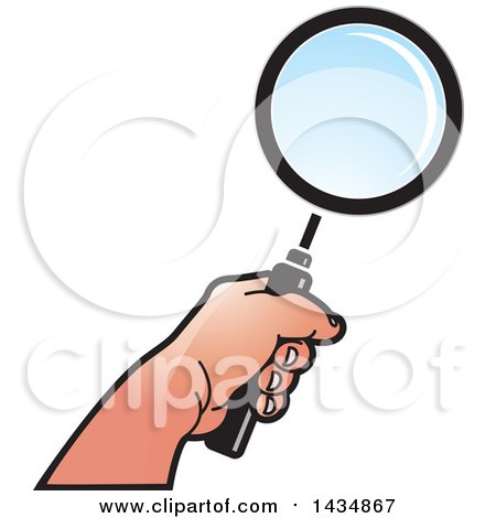 Clipart of a Hand Holding a Magnifying Glass - Royalty Free Vector Illustration by Lal Perera