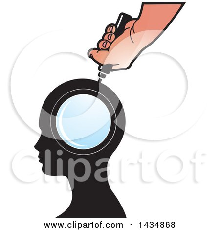 Clipart of a Hand Holding a Magnifying Glass over a Silhouetted Head - Royalty Free Vector Illustration by Lal Perera