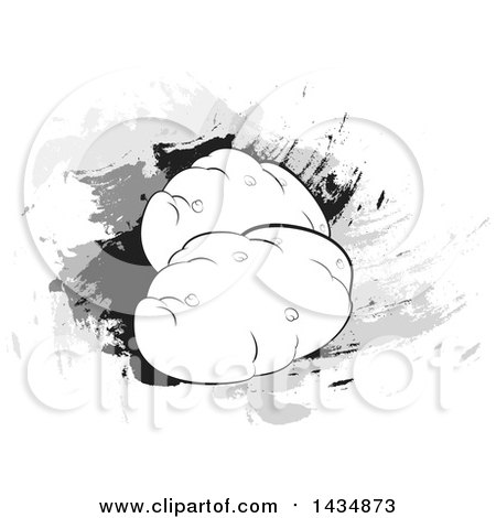Clipart of Potatoes over Splatters - Royalty Free Vector Illustration by Lal Perera