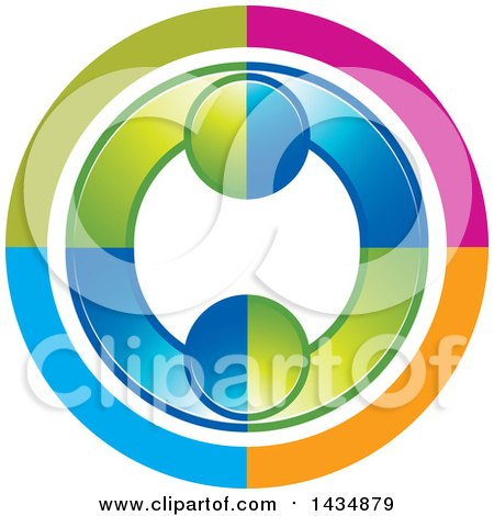 Clipart of a Colorful Couple Dancing or Embracing and Forming a Circle - Royalty Free Vector Illustration by Lal Perera