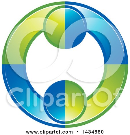 Clipart of a Green and Blue Couple Dancing or Embracing and Forming a Circle - Royalty Free Vector Illustration by Lal Perera