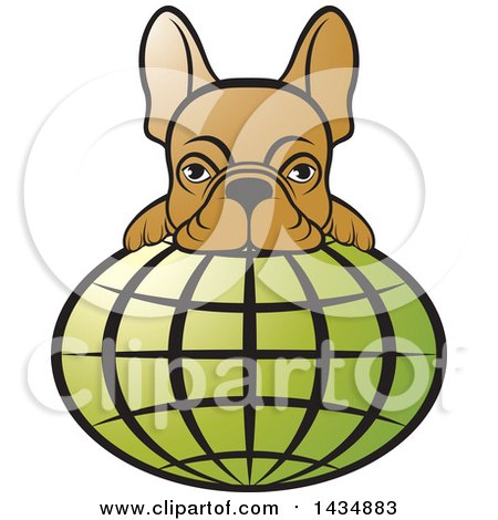 Clipart of a French Bulldog over a Green Grid Globe - Royalty Free Vector Illustration by Lal Perera
