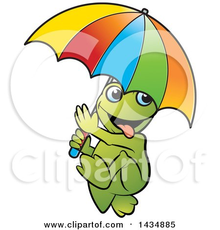 Clipart of a Goofy Frog Walking with an Umbrella - Royalty Free Vector Illustration by Lal Perera