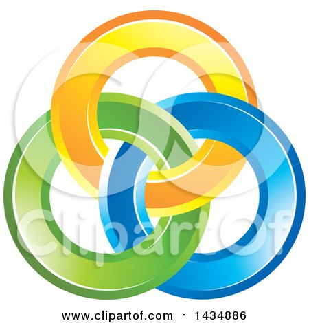 Clipart of a Design of Yellow, Blue and Green Rings - Royalty Free Vector Illustration by Lal Perera