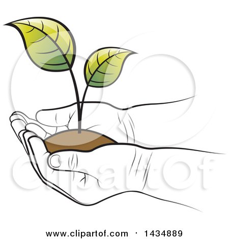 Clipart of a Black and White Kid Hands Holding a Plant and Soil - Royalty Free Vector Illustration by Lal Perera