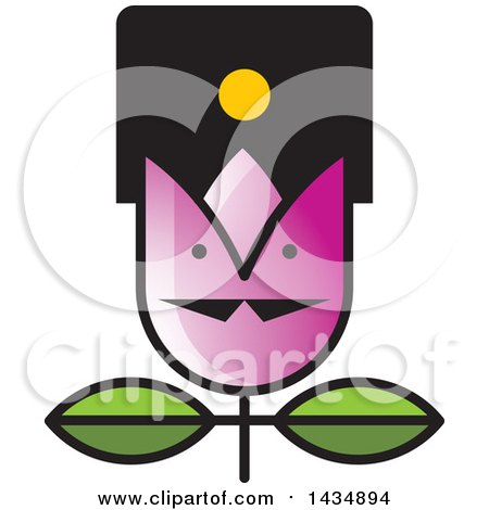 Clipart of a Tulip Flower with a Face - Royalty Free Vector Illustration by Lal Perera